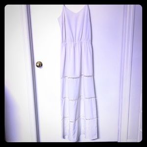White maxi dress with stitching cut outs